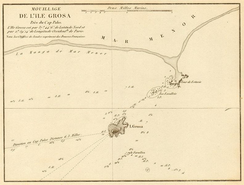 Associate Product Mouillage de L'ile Grosa… Cap Palos. Spain. La Manga Mar Menor GAUTTIER 1851 map