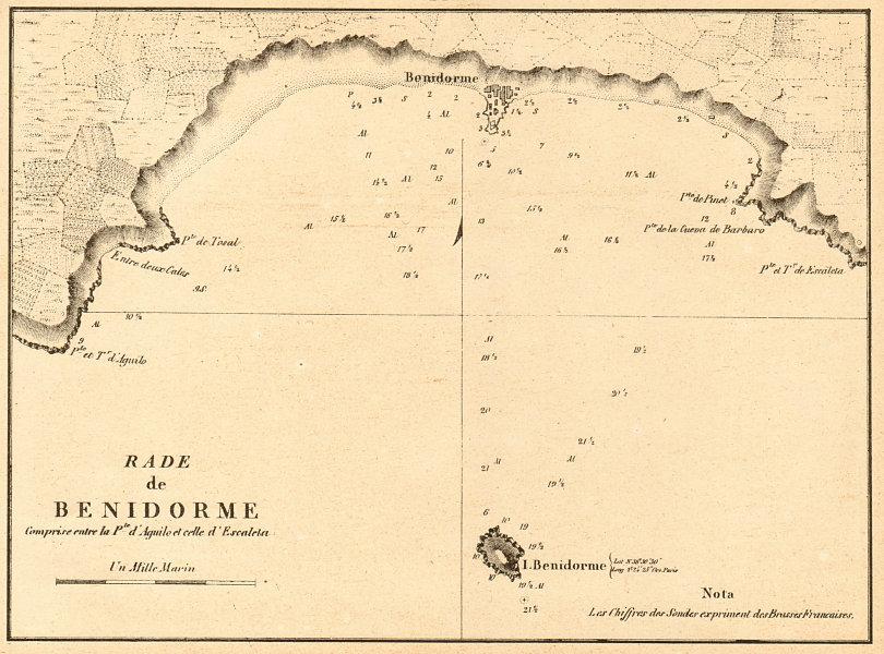 Map Of Spain Benidorm.Details About Benidorm Bay Rade De Benidorme Spain Gauttier 1851 Old Antique Map Chart