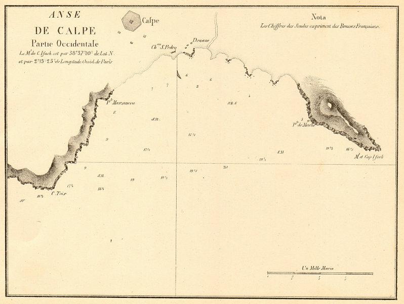 Associate Product Calp Bay. 'Anse de Calpe partie Occidentale'. Spain. Alicante. GAUTTIER 1851 map