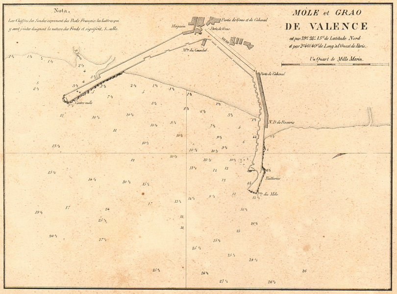 Associate Product Valencia. 'Mole et Grao de Valence'. Spain. GAUTTIER 1851 old antique map