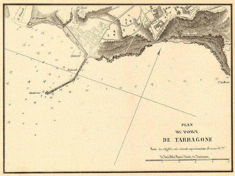 Associate Product The Port of Tarragona. 'Plan du Port de Tarragone'. Spain. GAUTTIER 1851 map