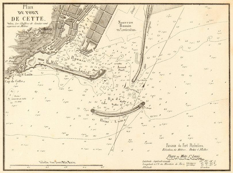 Associate Product Plan of the Port of Sète. 'Plan du Port de Cette'. Hérault. GAUTTIER 1851 map