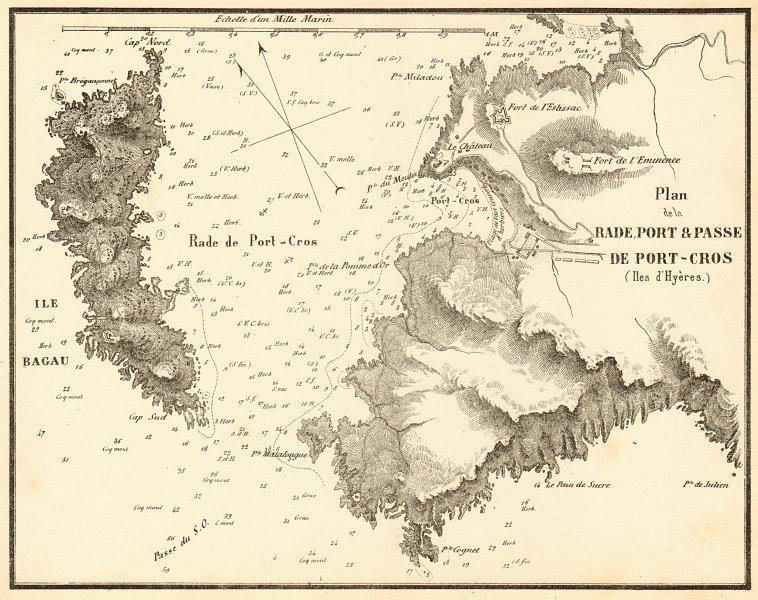 Associate Product La Rade, Port & Passe de Port-Cros, Îles d'Hyères. Var. GAUTTIER 1851 old map