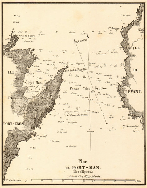 Associate Product Plan de Port-Man (Iles d'Hyeres). Îles d'Hyères, Var. GAUTTIER 1851 old map
