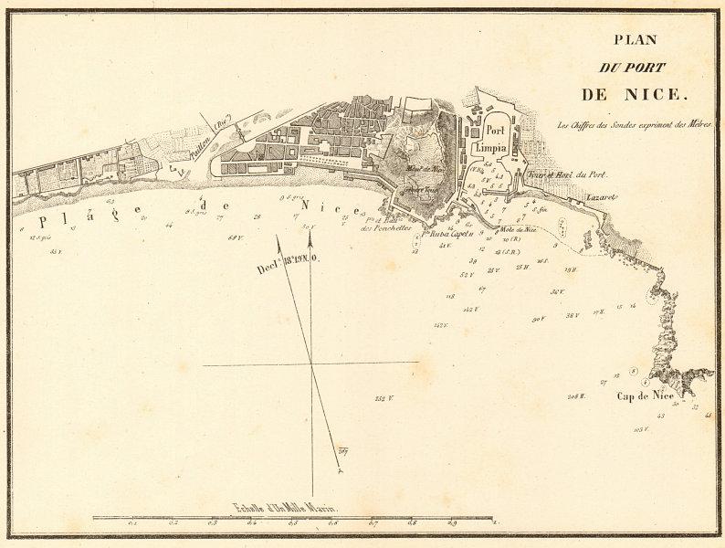 Associate Product Plan du Port de Nice. Alpes-Maritimes. GAUTTIER 1851 old antique map chart