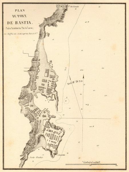 Associate Product Plan du port de Bastia. Corse Corsica. GAUTTIER 1851 old antique map chart