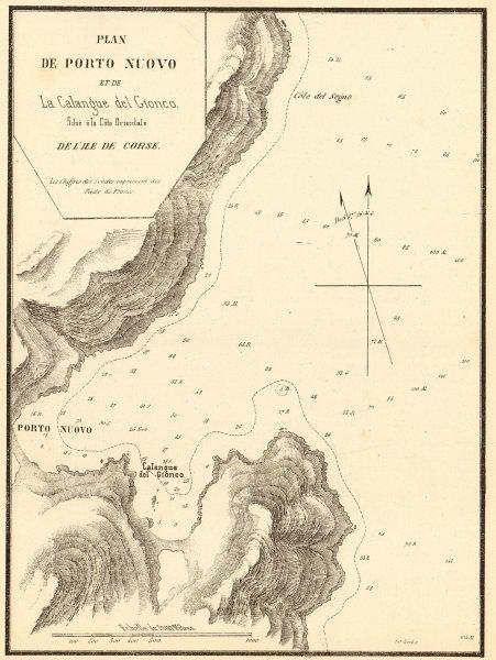 Associate Product Porto-Novo. Porto Nuovo &… Calangue del Gionco. Corse Corsica. GAUTTIER 1851 map