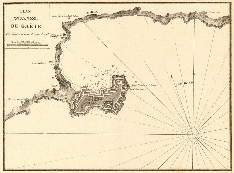 Associate Product Plan of Gaeta Bay. 'Plan de la Baie de Gaete'. Italy. GAUTTIER 1851 old map