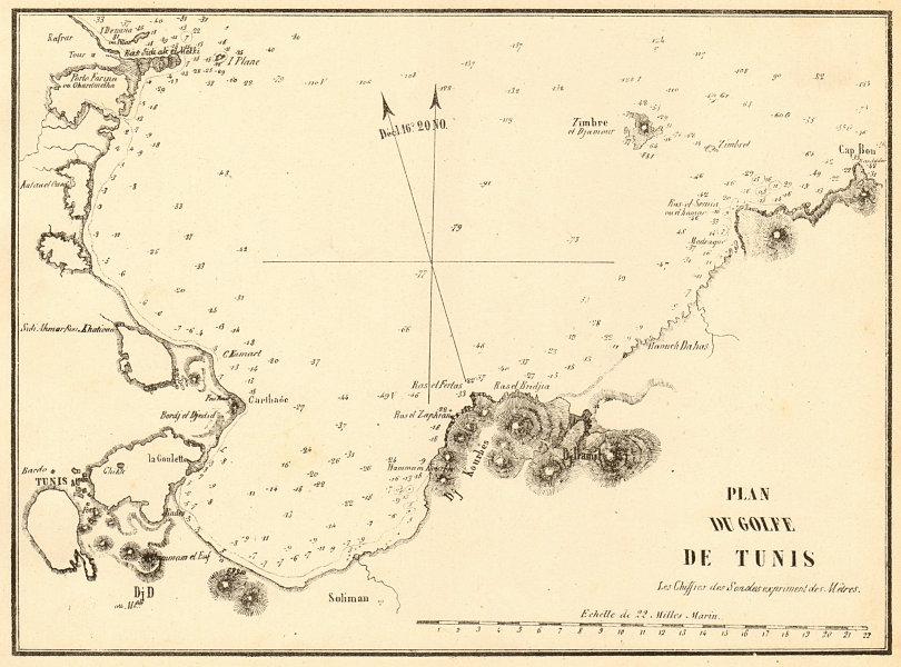 Associate Product The Gulf of Tunis. 'Plan du Golfe de Tunis'. Tunisia. GAUTTIER 1851 old map
