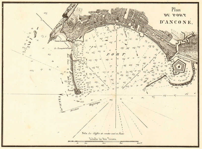 Associate Product Plan of the Port of Ancona. 'Plan du Port d'Ancone'. Italy. GAUTTIER 1854 map