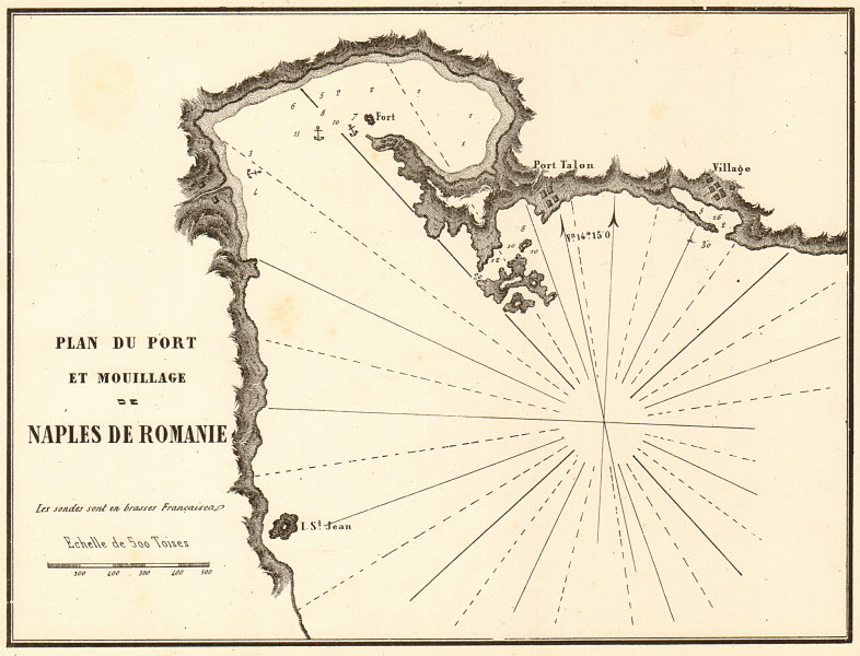 Associate Product Nafplio. 'Port et Mouillage de Naples de Romanie'. Greece. GAUTTIER 1854 map
