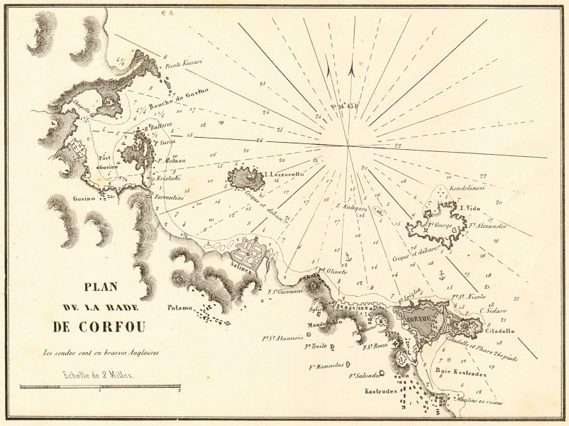 Associate Product Corfu Town roadstead. 'Plan de la Rade de Corfou'. Greece. GAUTTIER 1854 map