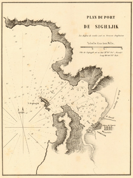 The Port of Sigacik. 'Plan du Port de Sighajik'. Turkey. GAUTTIER 1854 old map