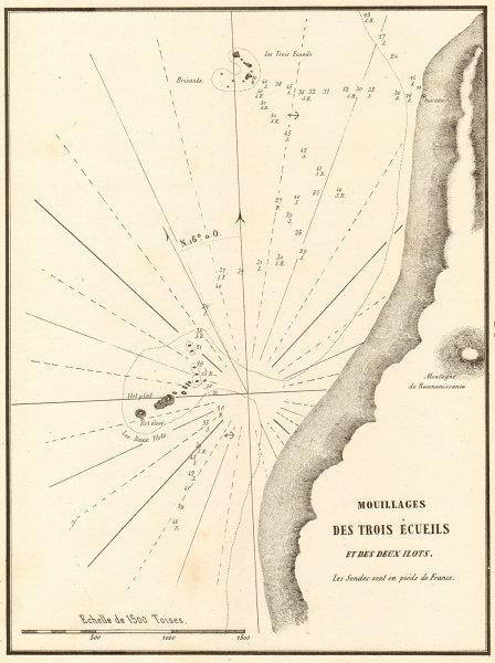 Associate Product Mouillage des Trois Ecueils et des deux ilots. Libya. GAUTTIER 1854 old map