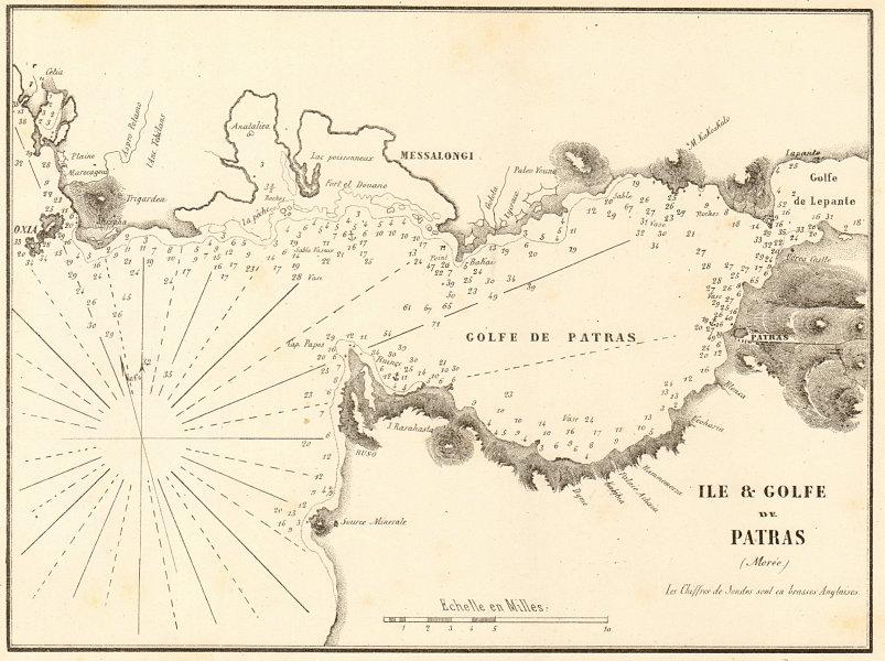 Associate Product Gulf of Patras. 'Ile & Golfe de Patras (Moree)'. Greece. GAUTTIER 1854 old map