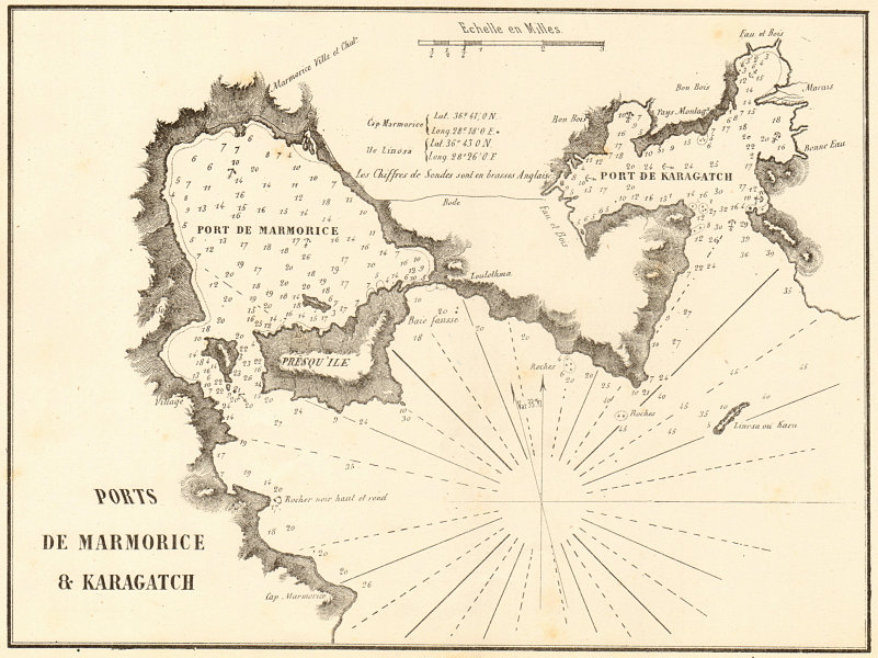 Associate Product Marmaris & Karaagac. 'Ports de Marmorice & Karagatch'. Turkey. GAUTTIER 1854 map