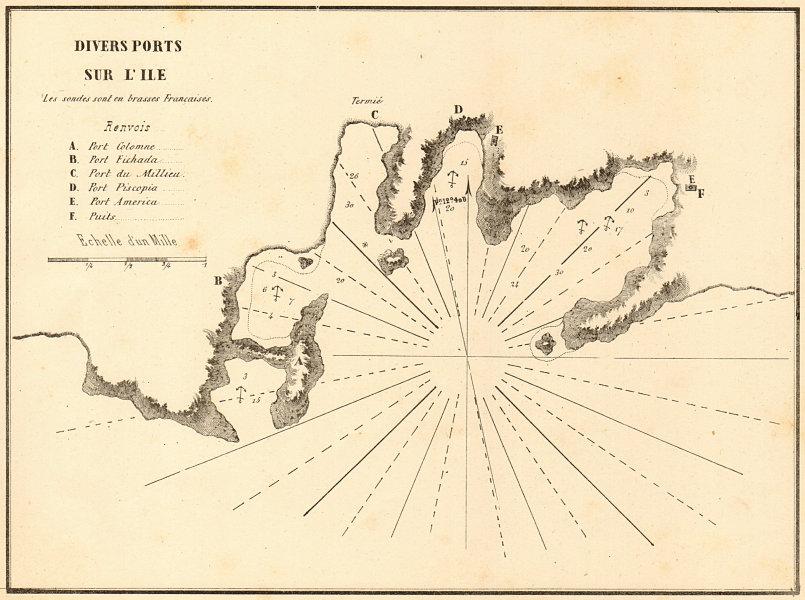 Associate Product Kythnos coastline. 'Divers Ports sur L'ile'. Greece. GAUTTIER 1854 old map