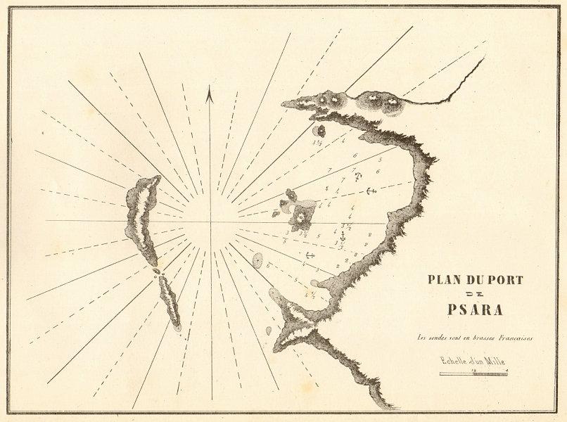 Associate Product Plan du Port de Psara. Greece. Aegean. GAUTTIER 1854 old antique map chart