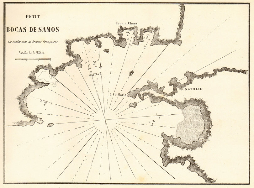 Associate Product Samos. 'Petit Bocas de Samos'. Greece Turkey. Mycale Strait. GAUTTIER 1854 map