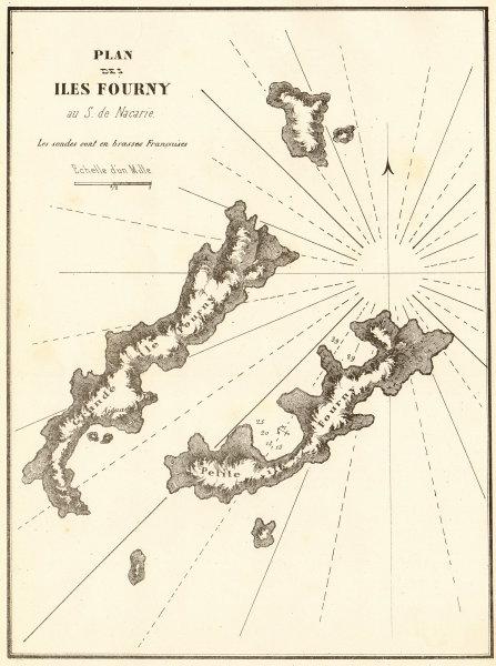 Associate Product Fourni Islands, Ikaria. 'Iles Fourny au S. de Nacarie'. Greece GAUTTIER 1854 map