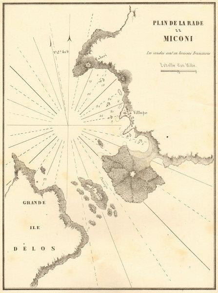 Port Delos. 'Plan de la Rade de Miconi'. Greece. Rhenea. GAUTTIER 1854 old map