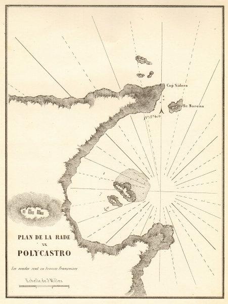 Associate Product Palekastro Bay, eastern Crete. Plan de la Rade de Polycastro. GAUTTIER 1854 map