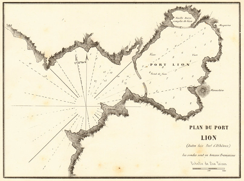 Associate Product Piraeus, Athens. 'Plan du Port Lion (Port d'Athenes)'. Greece. GAUTTIER 1854 map