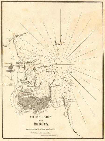 Associate Product Rhodes Town and Port. 'Ville & Ports de Rhodes'. Greece. GAUTTIER 1854 old map
