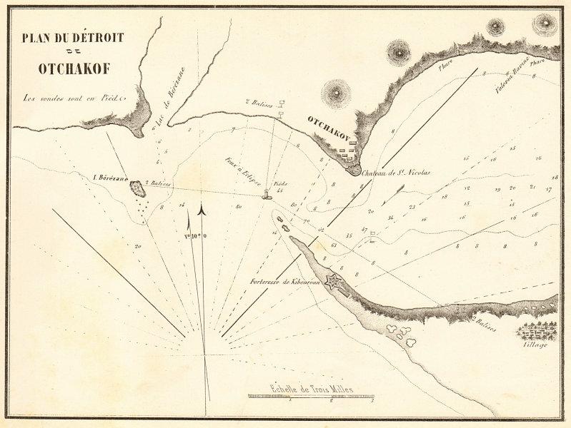 Associate Product Ochakiv / Ochakov. 'Plan du Detroit de Otchakof'. Ukraine. GAUTTIER 1854 map