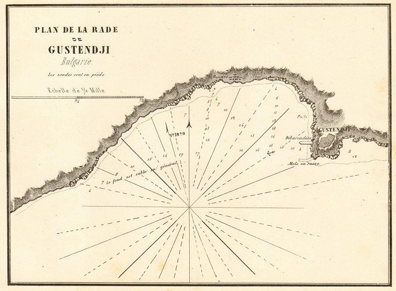 Associate Product Constanta Harbour. 'Plan de la Rade de Gustendji'. Romania. GAUTTIER 1854 map