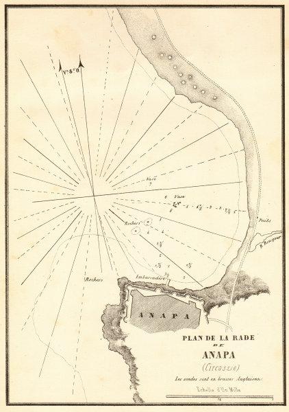 Plan de la Rade de Anapa. Russia. Black Sea, Krasnodar. GAUTTIER 1854 old map