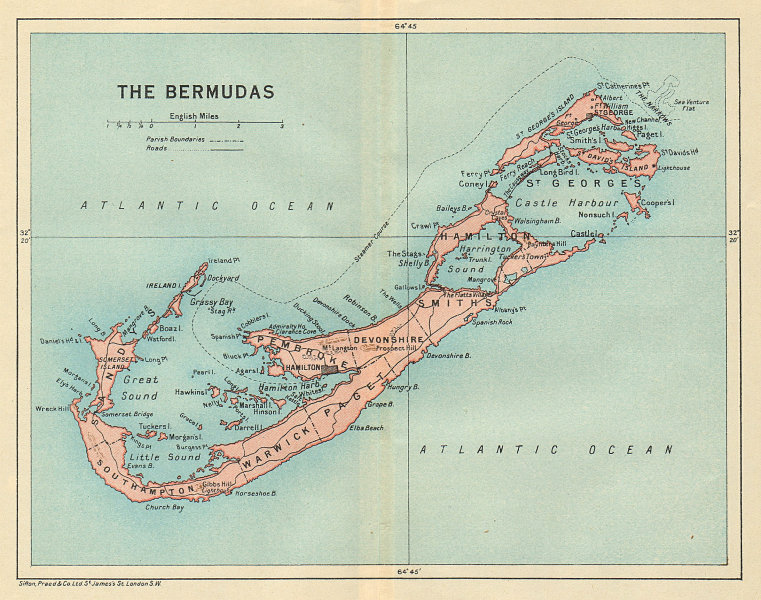 Associate Product THE BERMUDAS. Vintage map. Bermuda 1931 old vintage plan chart