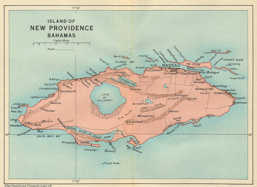 Associate Product NEW PROVIDENCE. Vintage map. Bahamas. Caribbean 1931 old vintage chart