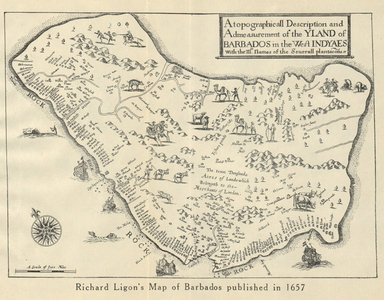 """Associate Product """"YLAND OF BARBADOS"""". Plantations. After Ligon 1657. West Indies 1931 old map"""