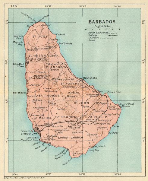 Associate Product BARBADOS. Vintage map. West Indies Caribbean 1931 old vintage plan chart
