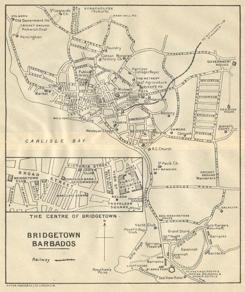 Associate Product BRIDGETOWN. Vintage town map. Barbados. West Indies. Caribbean 1931 old