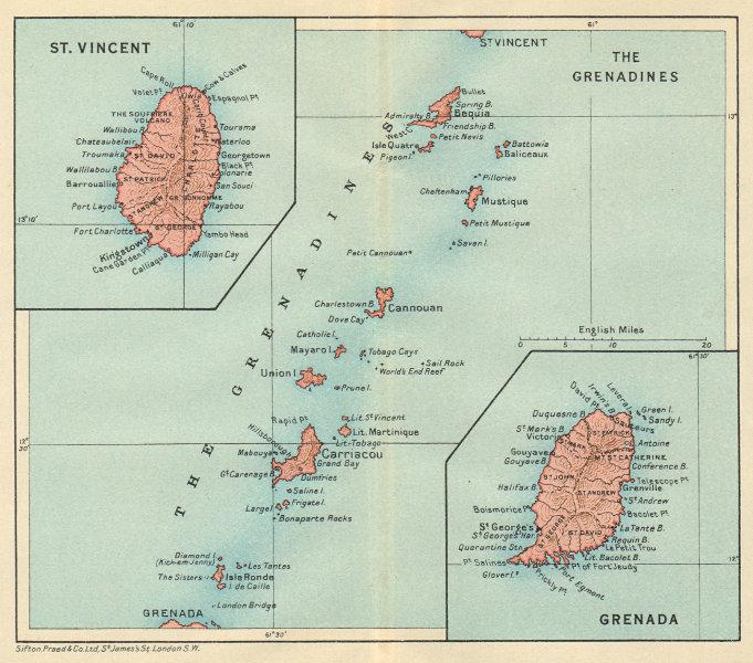 Associate Product ST VINCENT, GRENADA & THE GRENADINES. Lesser Antilles. West Indies 1931 map