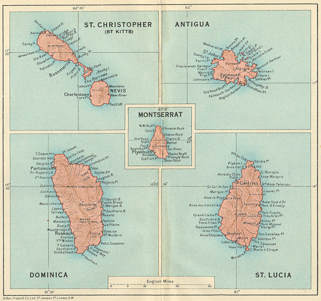 Associate Product WEST INDIES. Dominica St Kitts Antigua St Lucia Montserrat 1931 old map