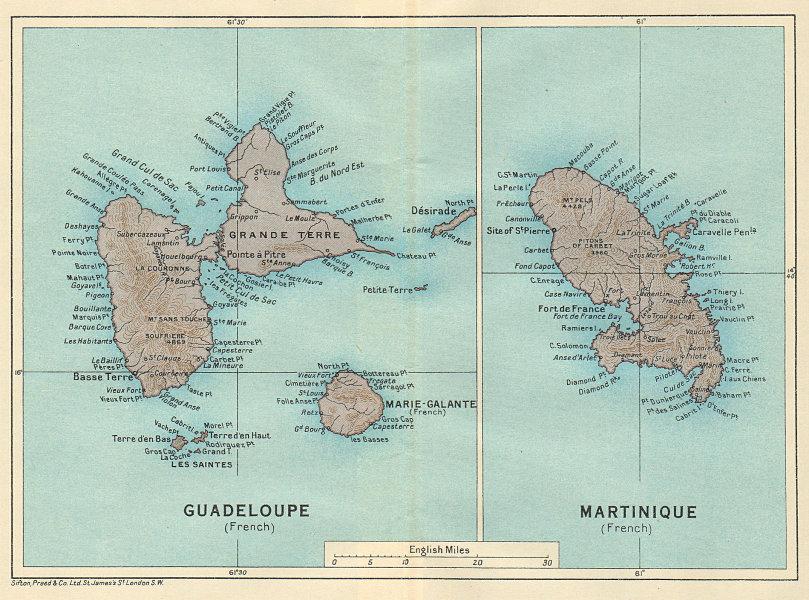 Associate Product ANTILLES FRANÇAISES. Martinique Guadeloupe. French West Indies vintage map 1931