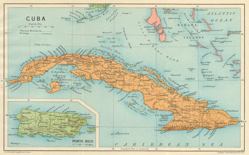 Associate Product CUBA. Vintage map. Inset Puerto Rico. West Indies. Caribbean 1931 old