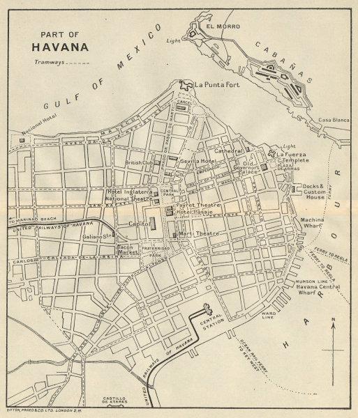 Associate Product HAVANA. Vintage town plan. Railways & streetcar lines. Cuba. Caribbean 1931 map