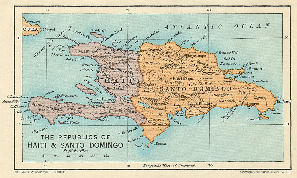 Details about HISPANIOLA. Haiti & Santo Domingo (Dominican Republic)  Vintage map 1931