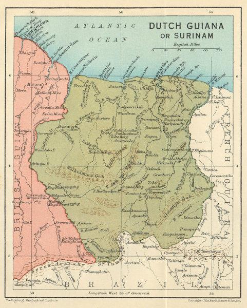 Associate Product DUTCH GUIANA or SURINAME. Vintage map. Guyanas. West Indies. Caribbean 1931