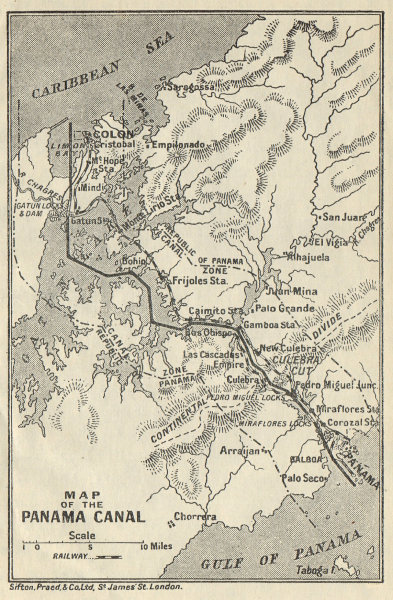 Associate Product PANAMA CANAL. Vintage map. Railway. Shows canal zone. Caribbean 1931 old