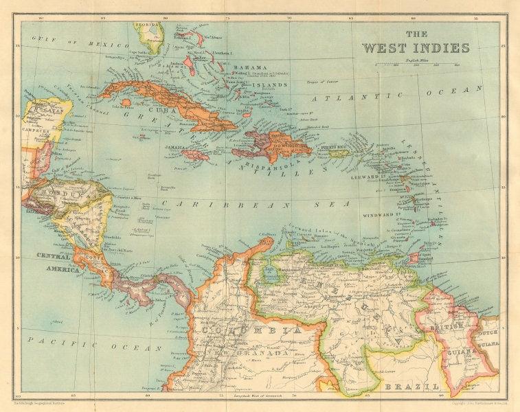 Associate Product WEST INDIES & CARIBBEAN. Venezuela Central America Cuba Hispaniola &c 1935 map