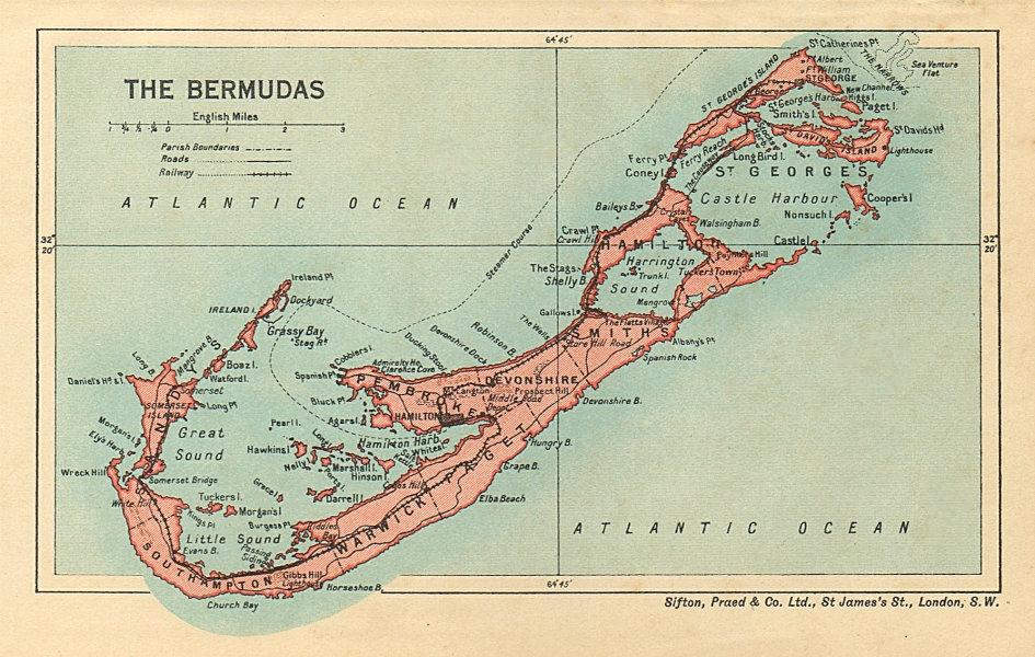 Associate Product THE BERMUDAS. Vintage map. Bermuda 1935 old vintage plan chart