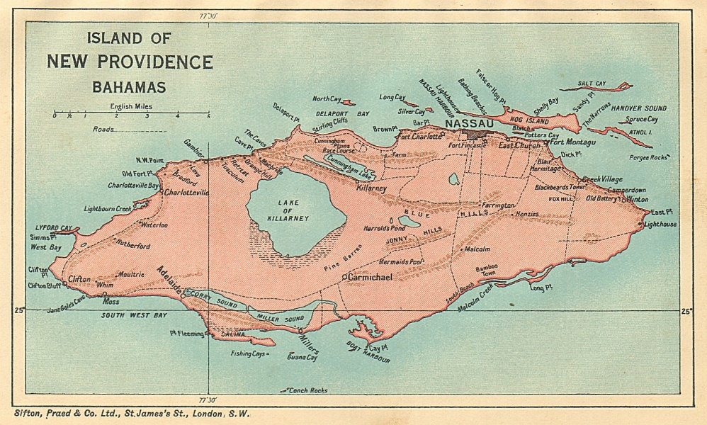 Associate Product NEW PROVIDENCE. Vintage map. Bahamas. Caribbean 1935 old vintage chart