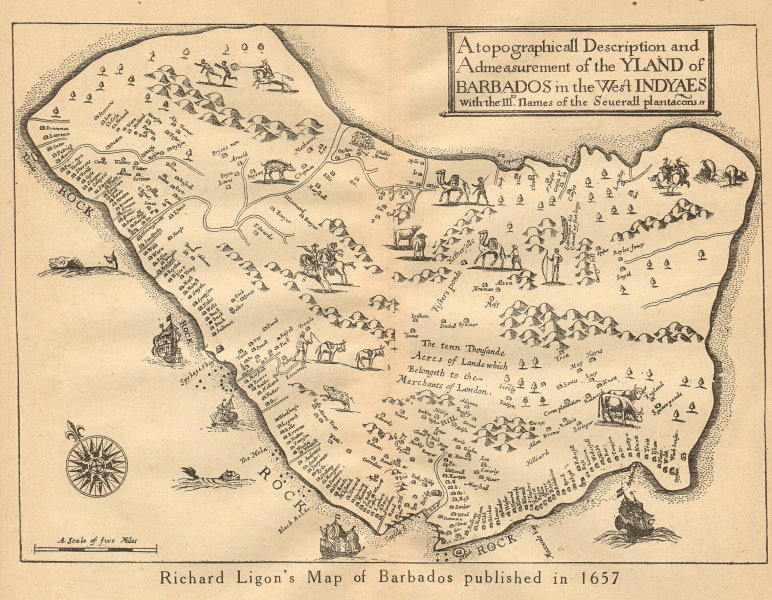 """Associate Product """"YLAND OF BARBADOS"""". Plantations. After Ligon 1657. West Indies 1935 old map"""