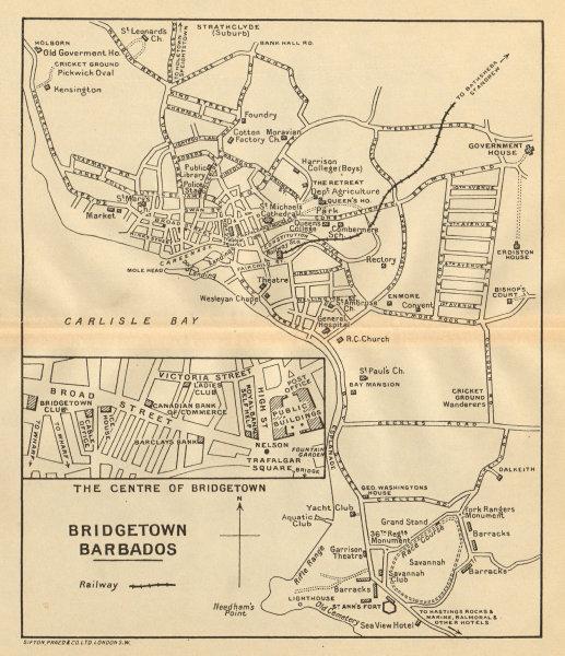 Associate Product BRIDGETOWN. Vintage town map. Barbados. West Indies. Caribbean 1935 old