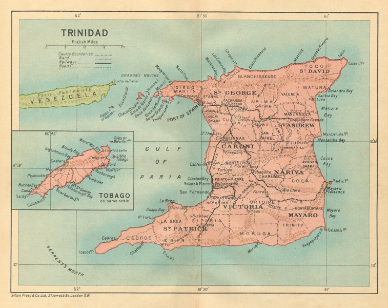 Associate Product TRINIDAD. Vintage map. West Indies. Caribbean 1935 old vintage plan chart